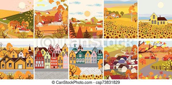 plat, bâtiments, ville, tournesol, dessin animé, vieux, village, meute - csp73831829