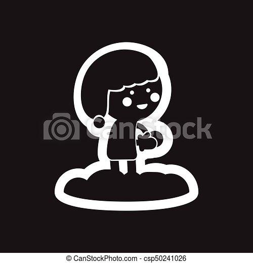 plat, boule de neige, enfant noir, blanc, icône - csp50241026