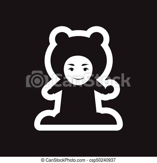 plat, boule de neige, enfant noir, blanc, icône - csp50240937