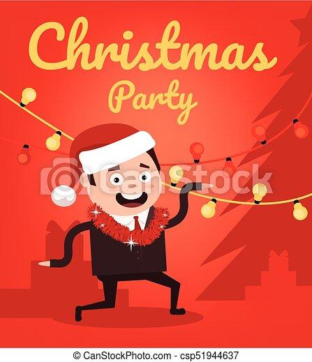 plat, bureau, danse, caractère, marier, ouvrier, illustration, noël, vecteur, année, nouveau, sourire heureux, partie., dessin animé, homme - csp51944637