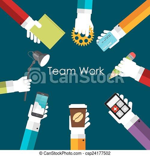 plat, concept, travail, illustration, vecteur, équipe - csp24177502