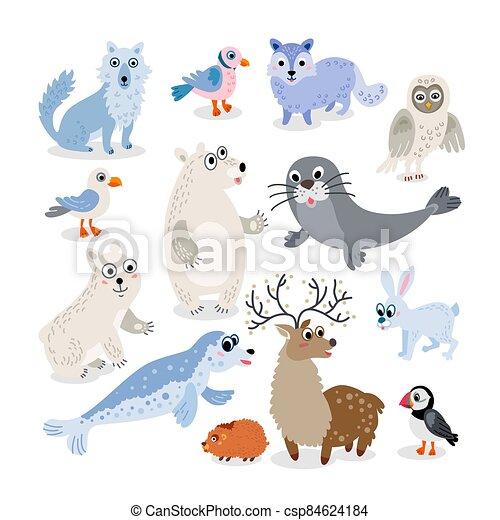 plat, ensemble, sauvage, nord, style, animaux, poteau - csp84624184