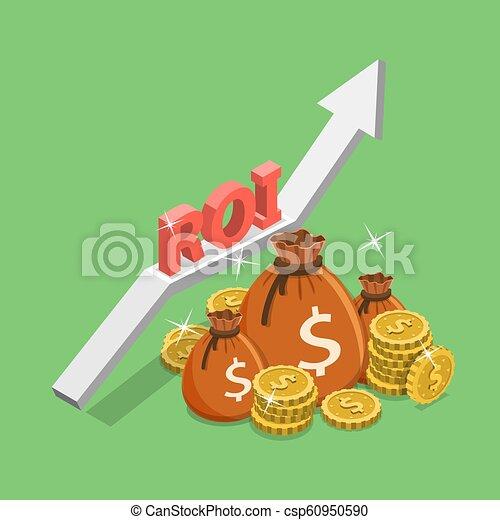 plat, isométrique, concept, retour, investissement, roi, vecteur, numérique, marketing. - csp60950590