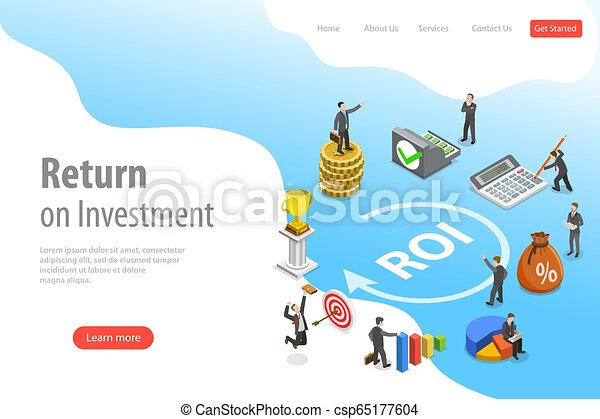 plat, isométrique, retour, roi., investissement, atterrissage, vecteur, gabarit, page - csp65177604