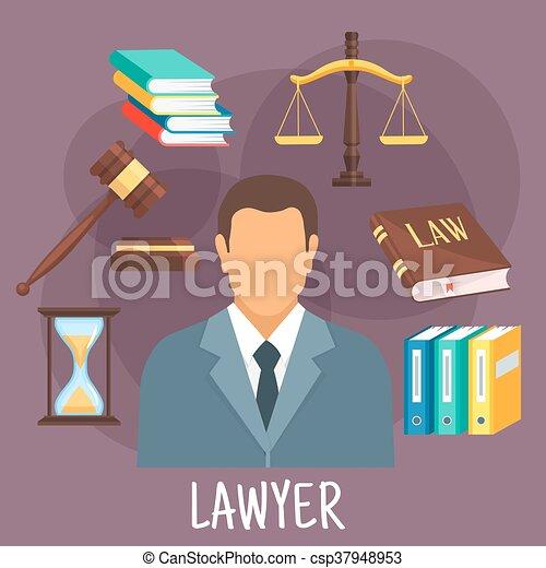 plat, justice, profession, symboles, avocat, icône - csp37948953