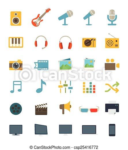 plat, média, icônes - csp25416772