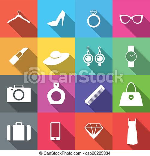 plat, mode, 16, icônes, long, ombre - csp20225334