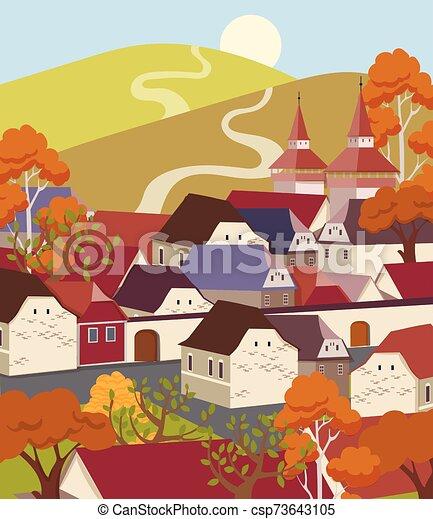 plat, paysage, ville, vieux, dessin animé, coloré - csp73643105