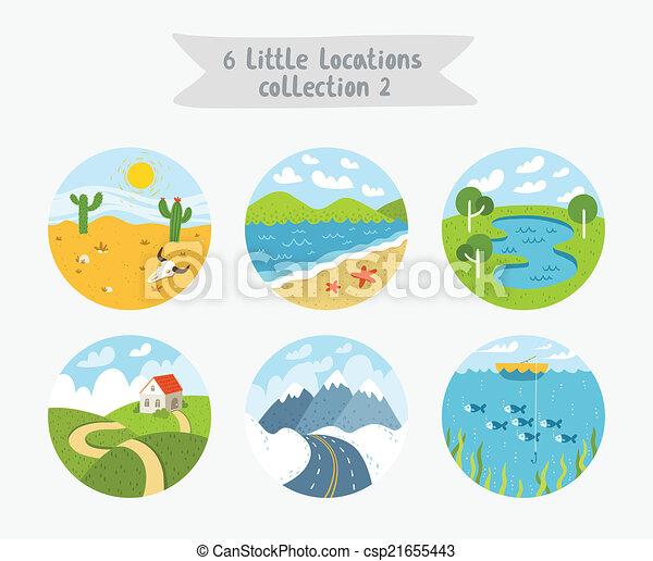 plat, peu, ensemble, paysages, illustration, emplacements, style, vecteur, cloudscapes, 6, paysages marins, cercle - csp21655443