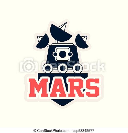 plat, project., contour, voyage, vagabond, timbre, science, autocollant, espace, emblème, ou, impression, vecteur, exploration, écusson, mars, satellites, logo, astromomie, style., appareil-photo. - csp53348577