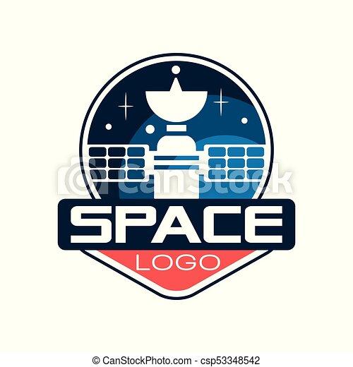 plat, project., emblème, satellite., technology., espace, science, autocollant, contour, cosmique, créatif, t-shirt, ou, vecteur, conception, impression, logo, astronautique, style., icône - csp53348542