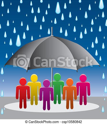 pluie, vecteur, protection, gouttes, parapluie - csp10580842