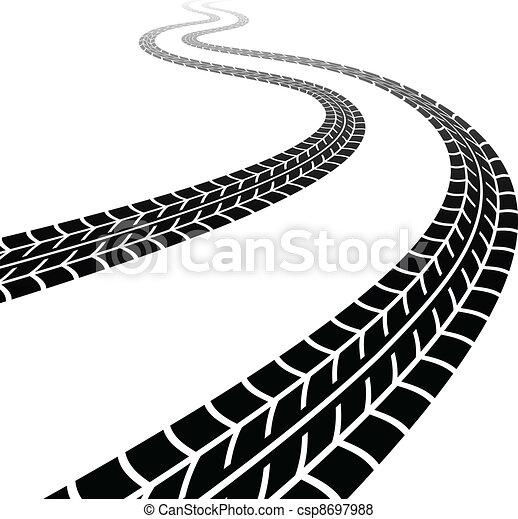 pneus, enroulement, vecteur, trace - csp8697988