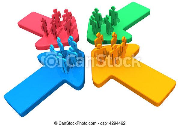 point, gens, flèches, 4, rencontrer, réunion, relier - csp14294462