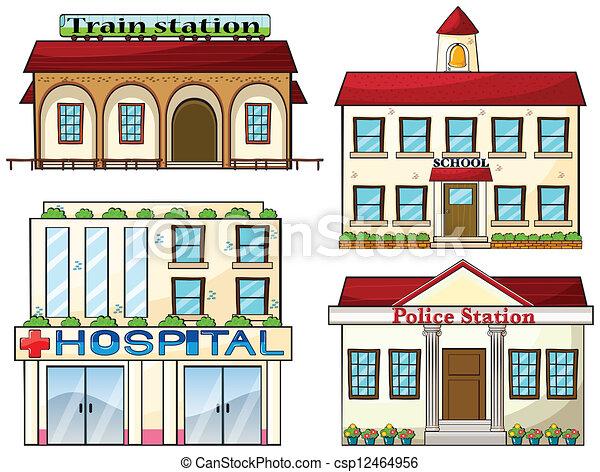 police, école, train, hôpital, station, station - csp12464956