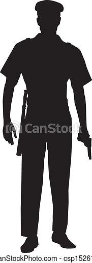 police, mâle, silhouette, officier - csp15261764