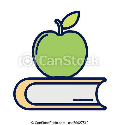 pomme, ligne, livre, fermé, remplir, icône, délicieux, style - csp79027510