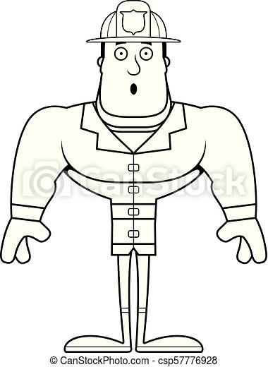 pompier, dessin animé, surpris - csp57776928