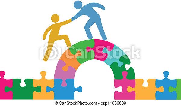 pont, joindre, aide, gens, puzzle, résoudre - csp11056809