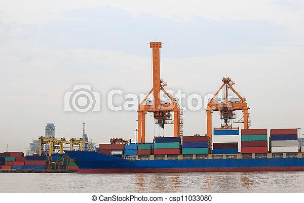 pont, récipient cargaison, fond, fonctionnement, crépuscule, grue, chantier naval, exportation, logistique, importation, fret, rivière, bateau, tout - csp11033080