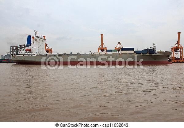 pont, récipient cargaison, fond, fonctionnement, crépuscule, grue, chantier naval, exportation, logistique, importation, fret, rivière, bateau, tout - csp11032843