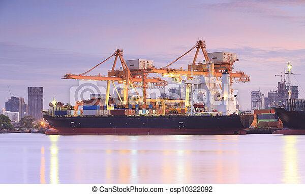 pont, récipient cargaison, fond, fonctionnement, crépuscule, grue, chantier naval, exportation, logistique, importation, bateau fret - csp10322092