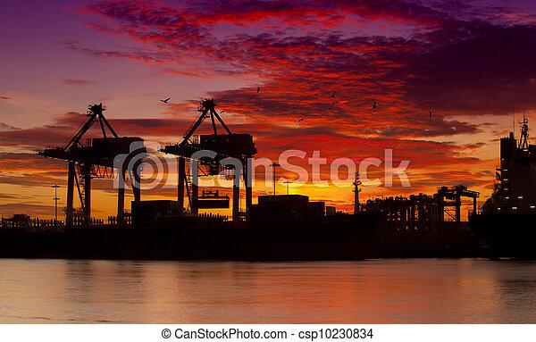 pont, récipient cargaison, fond, fonctionnement, crépuscule, grue, chantier naval, exportation, logistique, importation, bateau fret - csp10230834