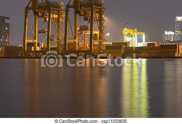 pont, récipient cargaison, fond, fonctionnement, crépuscule, grue, chantier naval, exportation, logistique, importation, fret, rivière, bateau, tout - csp11033635