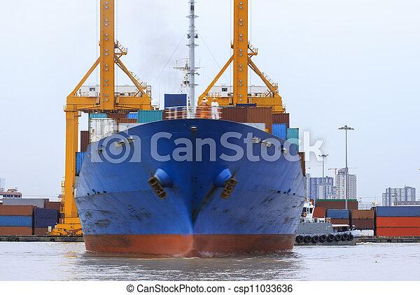 pont, récipient cargaison, fond, fonctionnement, crépuscule, grue, chantier naval, exportation, logistique, importation, fret, rivière, bateau, tout - csp11033636