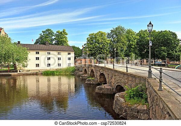 pont, rivière, vieux, orebro - csp72530824