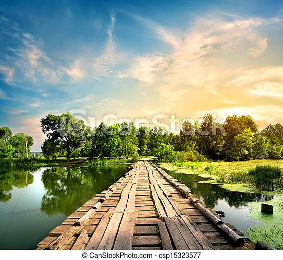 pont, sur, rivière, vieux - csp15323577