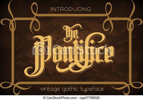 pontifice, vendange, -, étiquette, gothique, police - csp47768526