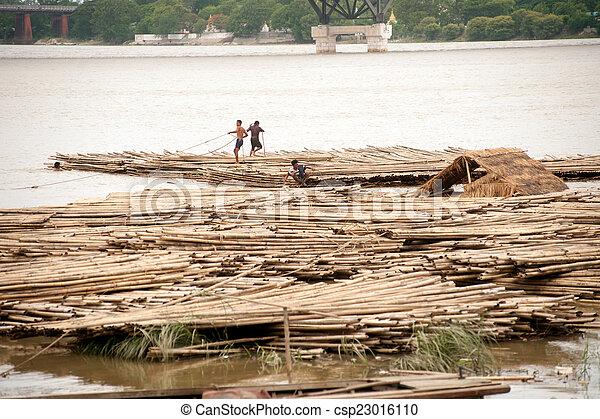 port, rivière, activités, myanmar., ayeyarwady - csp23016110