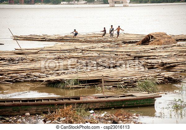 port, rivière, activités, myanmar., ayeyarwady - csp23016113
