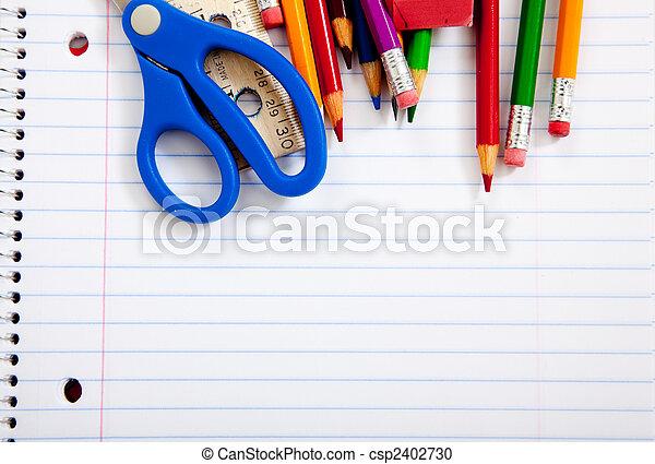 portables, fournitures, assorti, école - csp2402730