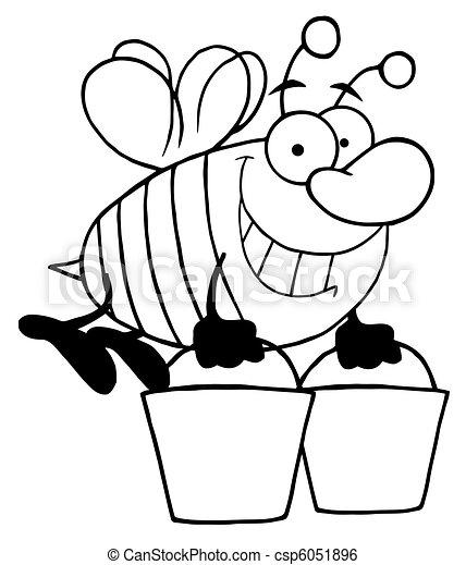 porter, abeille, esquissé, seaux, deux - csp6051896