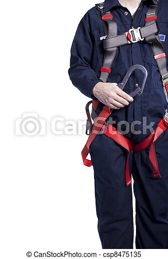 porter, coveralls, protection, harnais, automne, lanyard, homme - csp8475135
