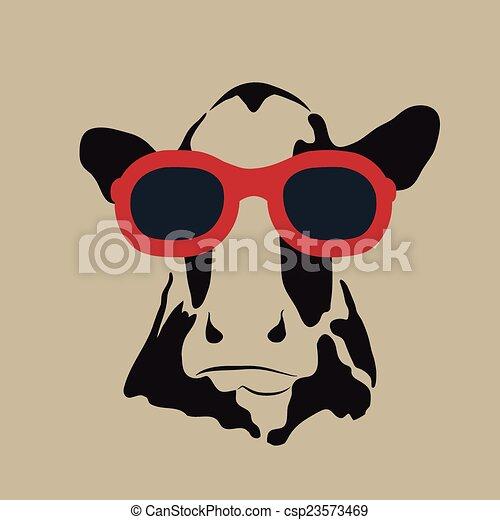 porter, image, vecteur, glasses., vache - csp23573469
