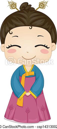 porter, peu, national, déguisement, coréen, girl - csp14313002
