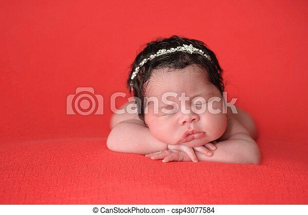 porter, rhinestone, nouveau-né, girl, bandeau - csp43077584