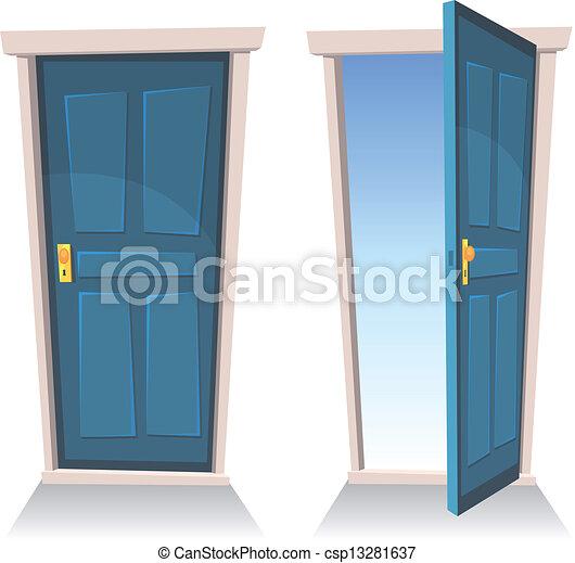 portes, ouvert, fermé - csp13281637
