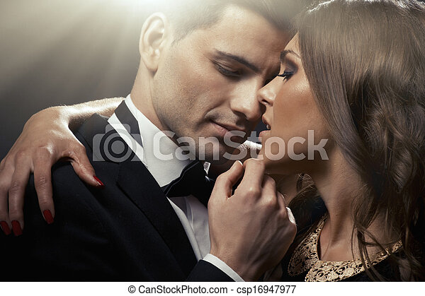 portrait, couple, sensuelles, mignon - csp16947977