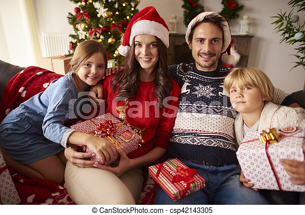 portrait, noël, famille, aimer - csp42143305
