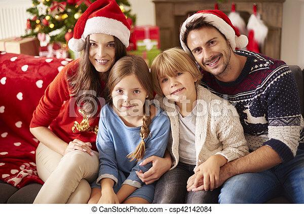 portrait, noël, famille, aimer - csp42142084