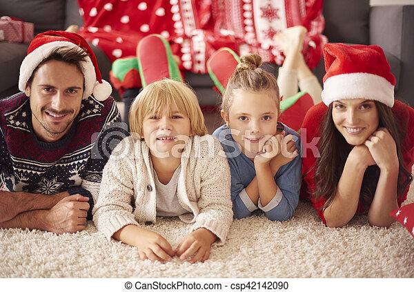 portrait, noël, famille, aimer - csp42142090