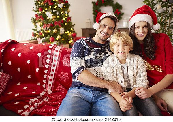 portrait, noël, famille, heureux - csp42142015