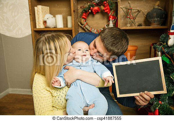 portrait, noël, famille, heureux - csp41887555