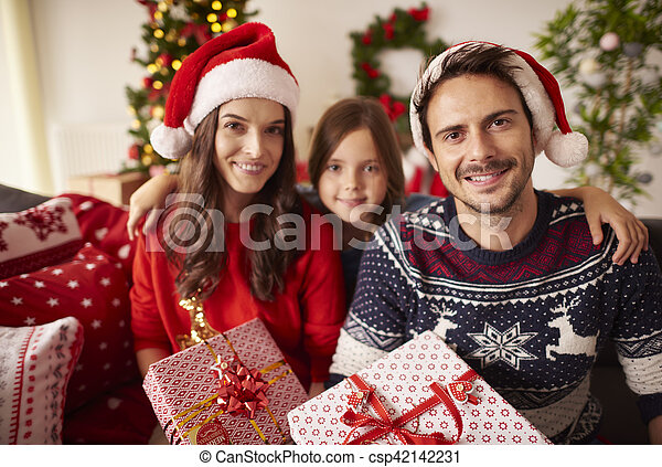 portrait, noël, famille, heureux - csp42142231