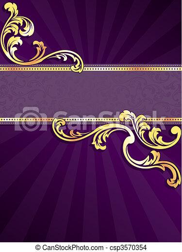 pourpre, bannière, or, vertical - csp3570354