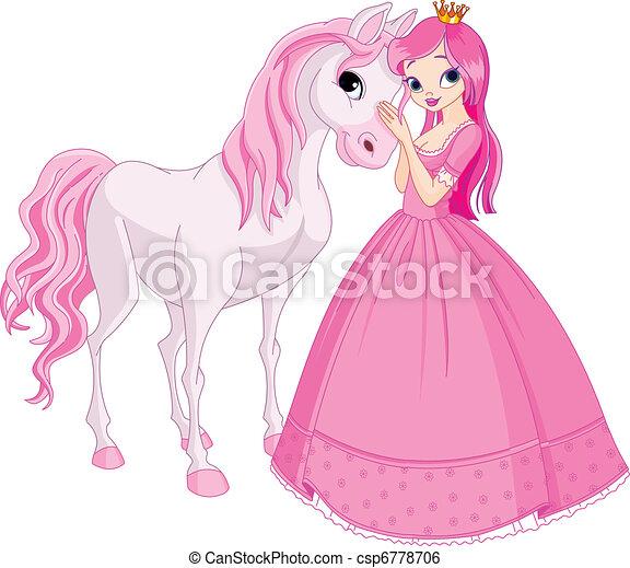 princesse, cheval, beau - csp6778706